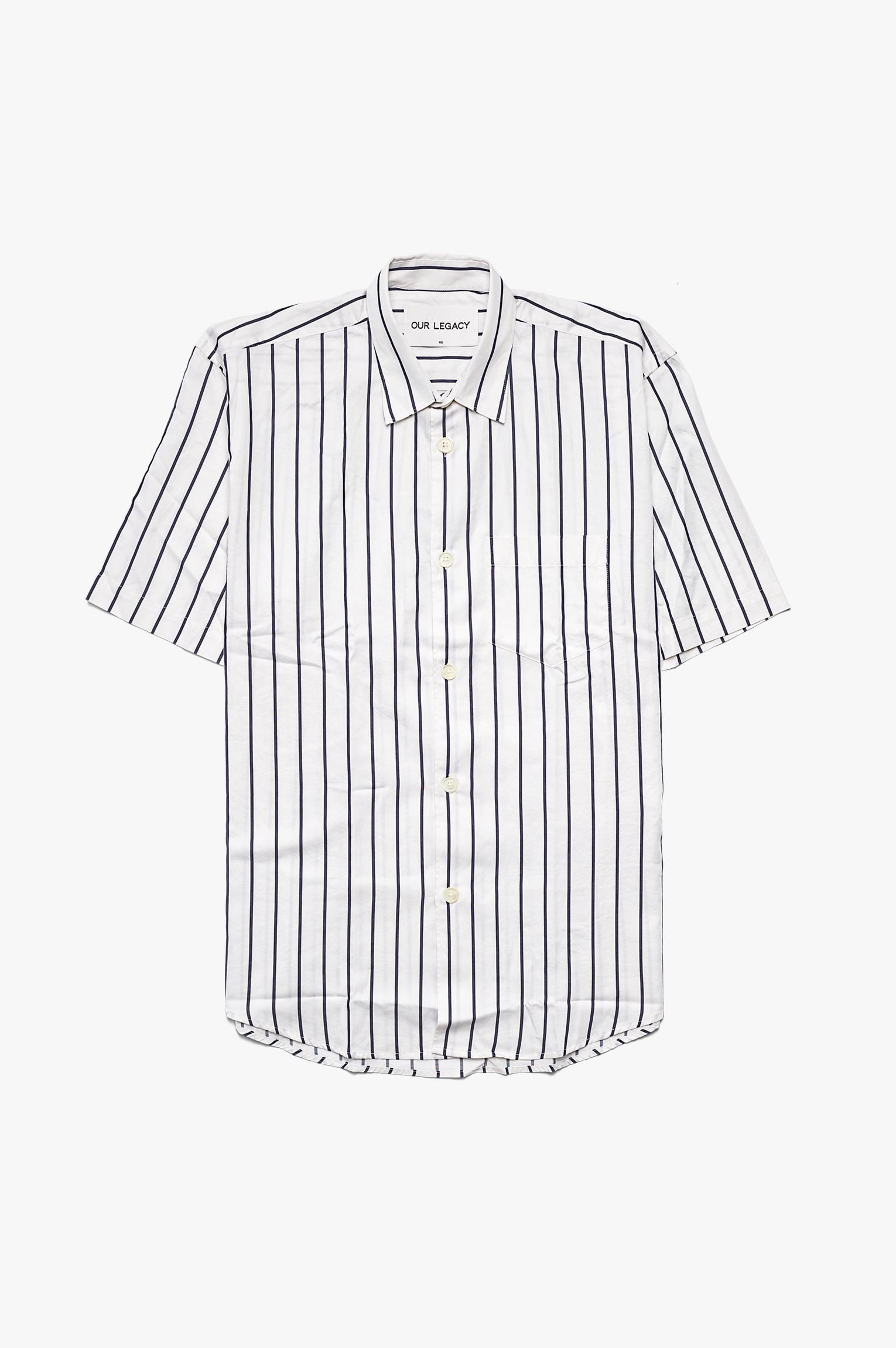 Initial Short Sleeve Shirt Big Blue/White Stripe