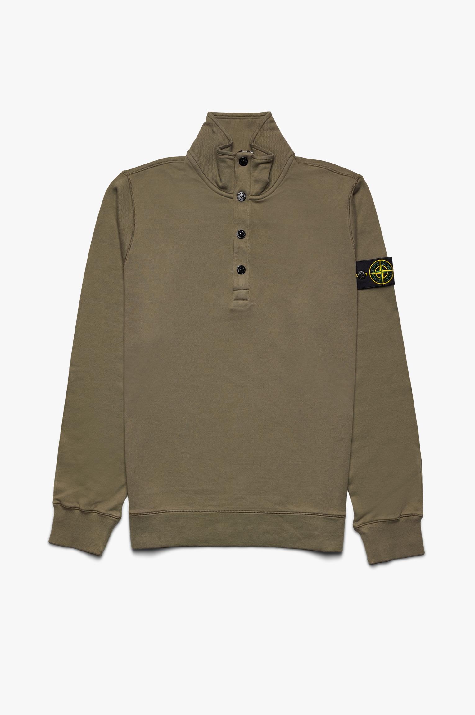 Soft Cotton Button Neck Sweater Olive