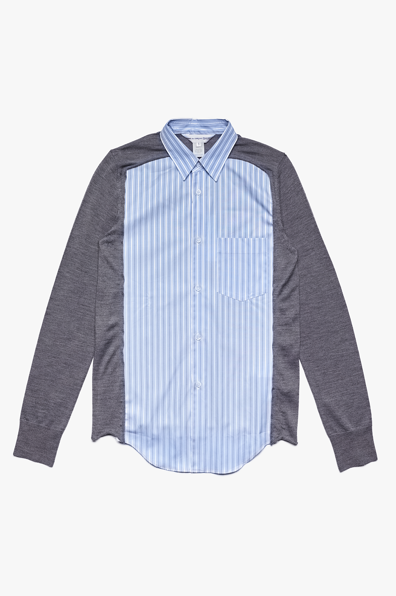 Knitted Sleeves Striped Shirt Blue / Grey