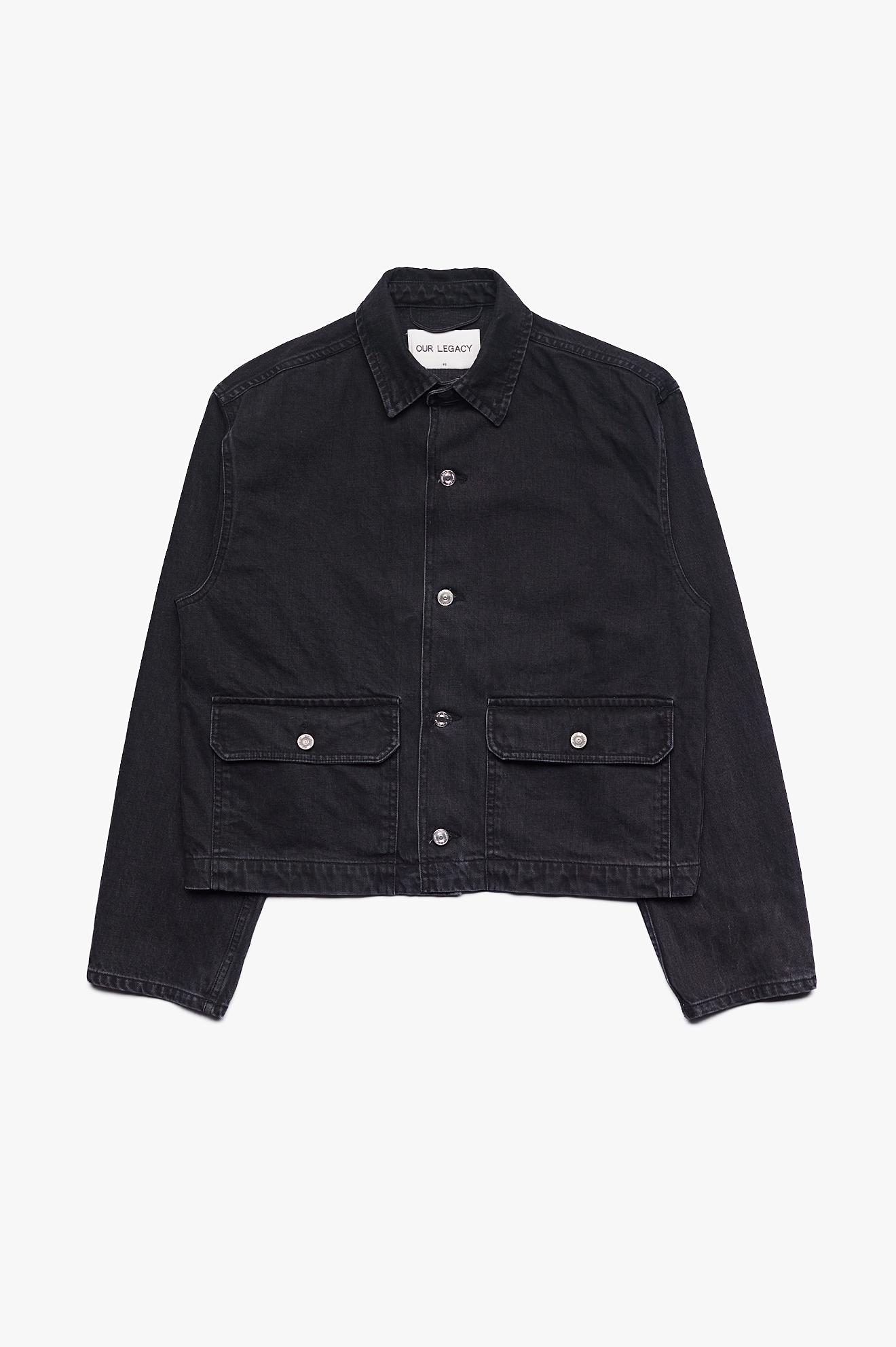 Waist Jean Jacket Black Rinse Wash