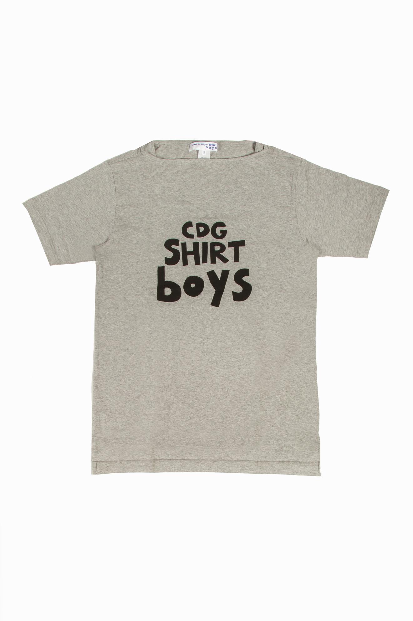 Boys Wide Neck Logo T-Shirt Grey