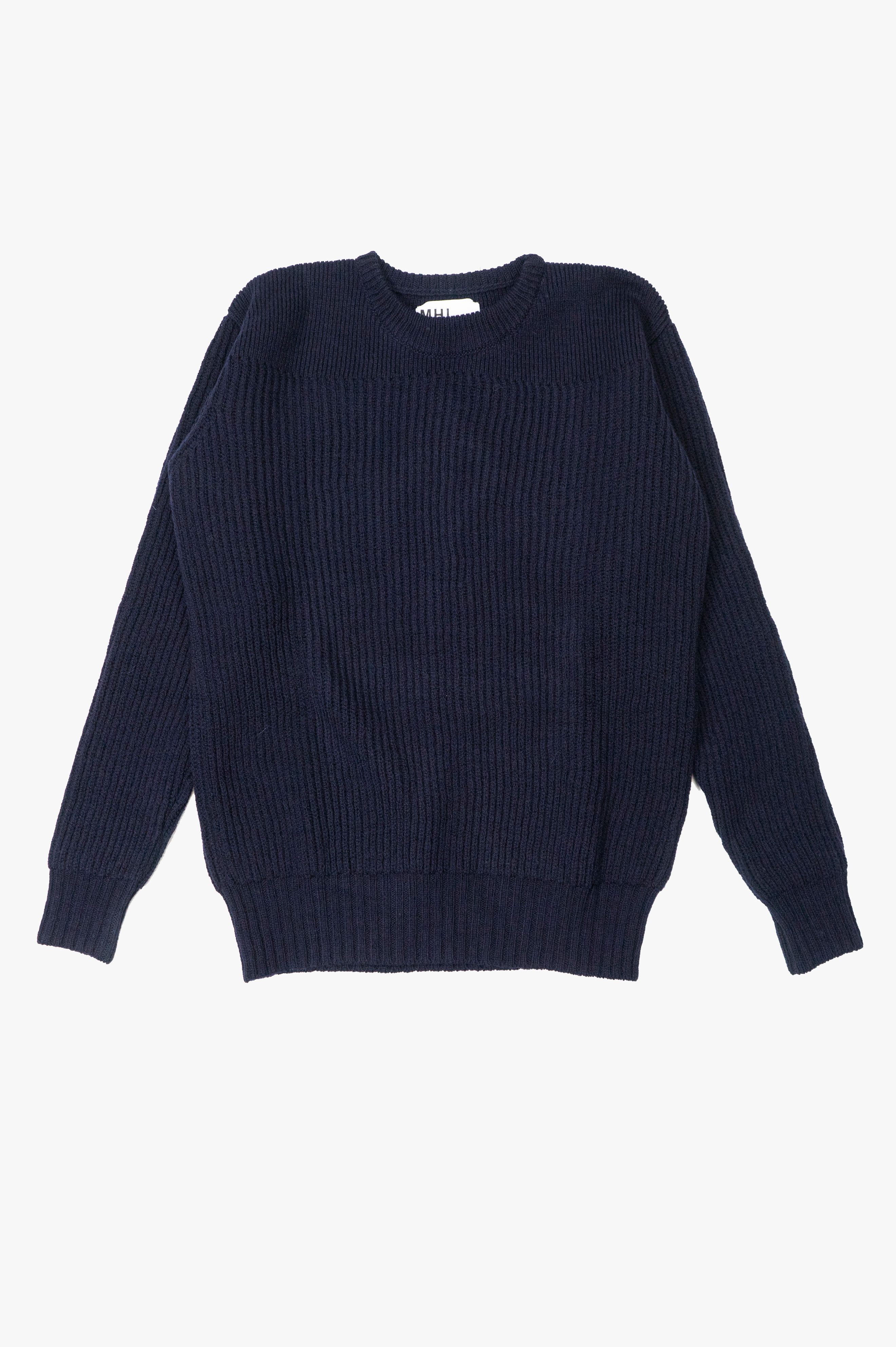 Fishermans Rib Sweater British Merino Navy