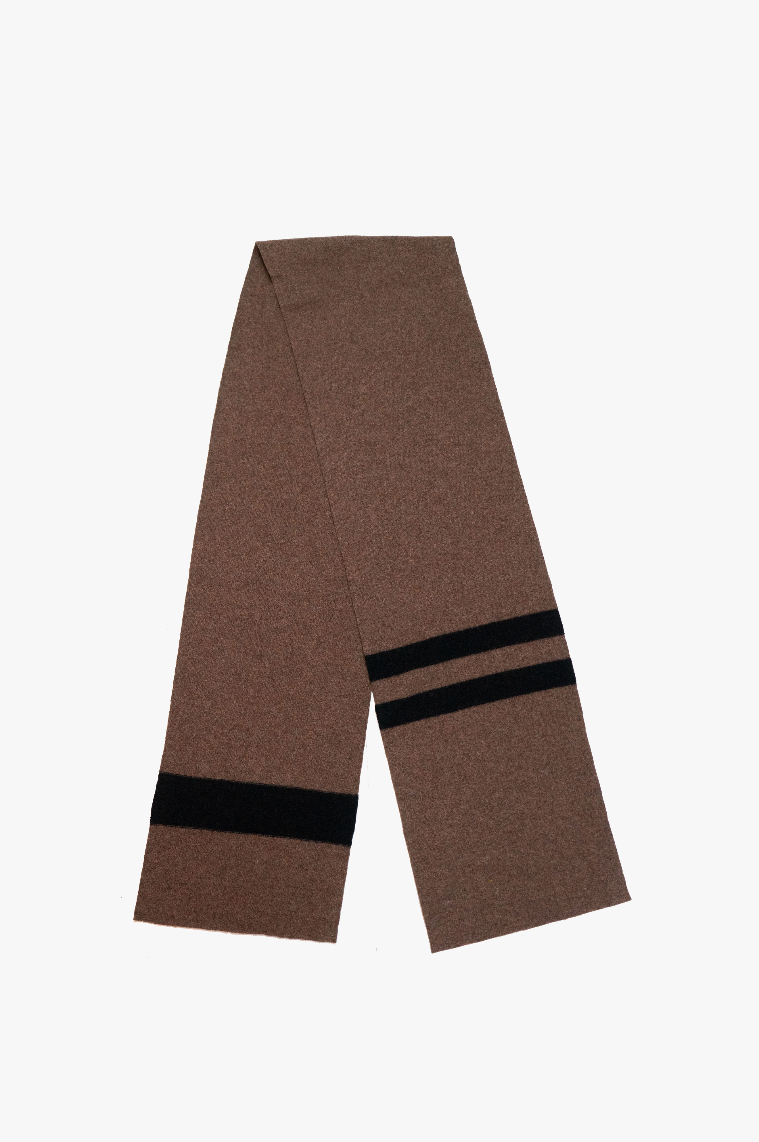 Odd Stripe Felted Scarf Lambswool Tobacco/Black