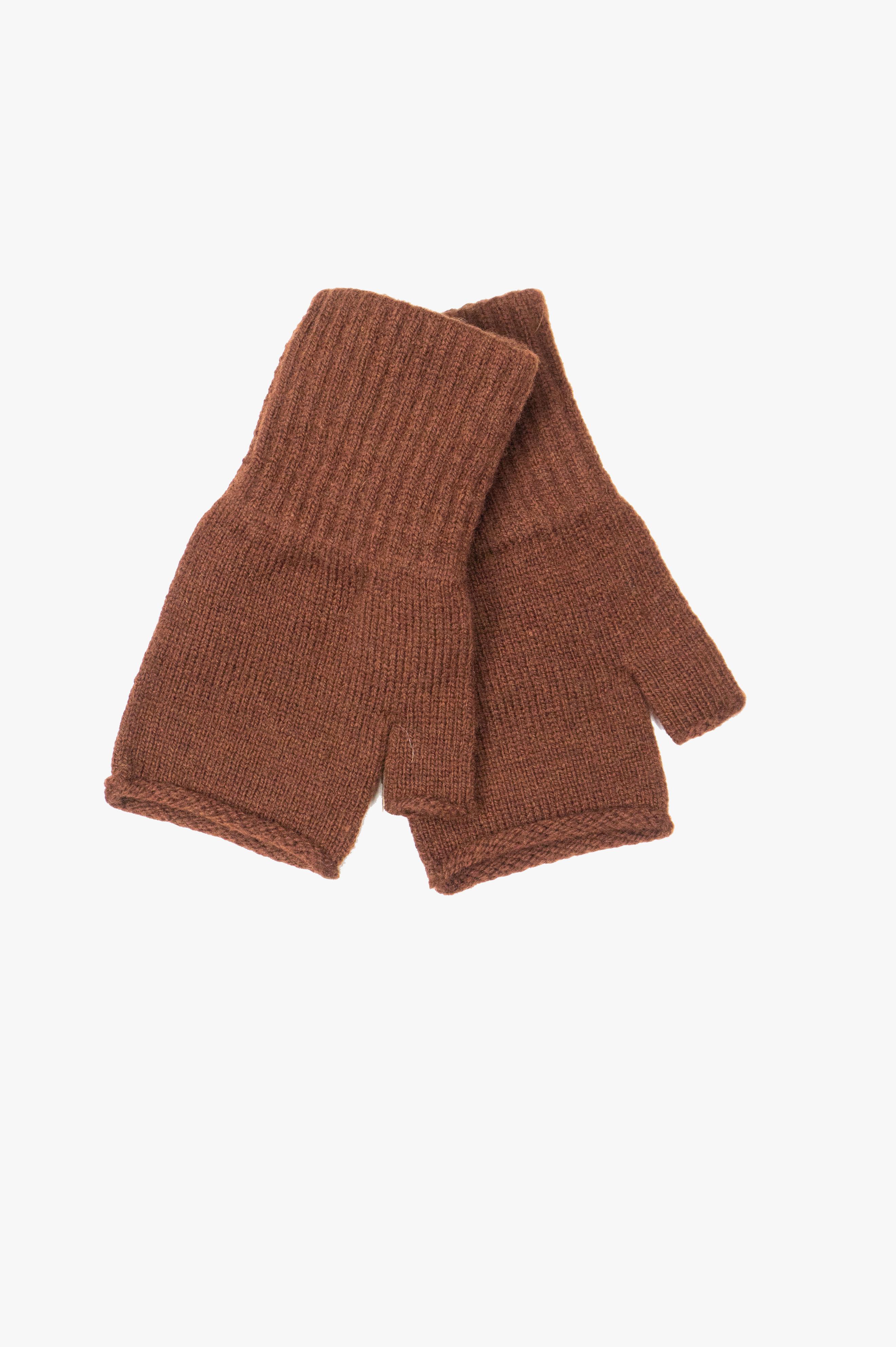Rolled Edge Fingerless Glove British Merino Rust Brown