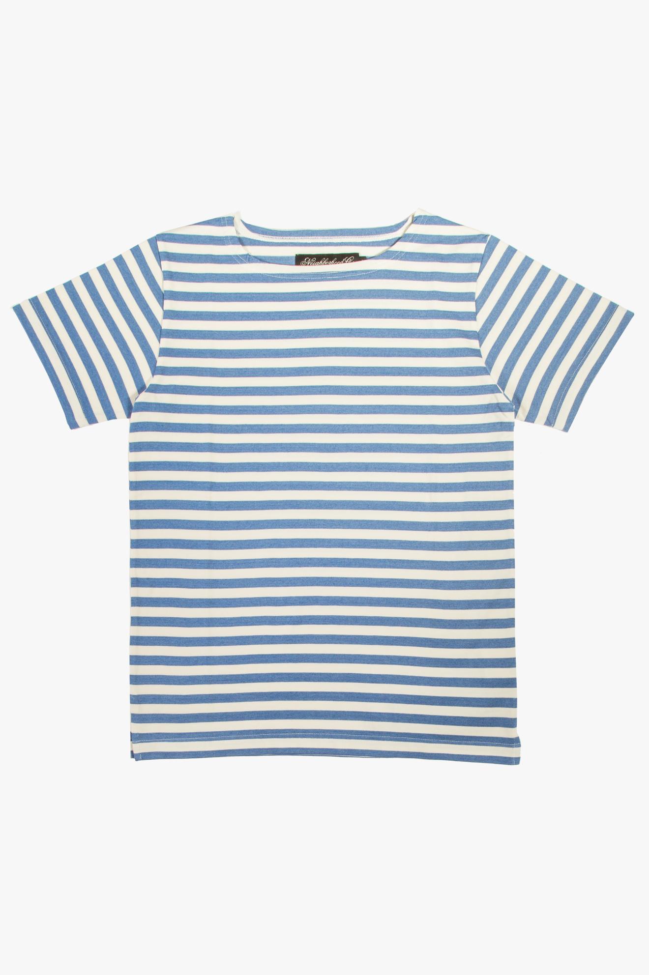 Pablo T-Shirt White/Blue Stripes