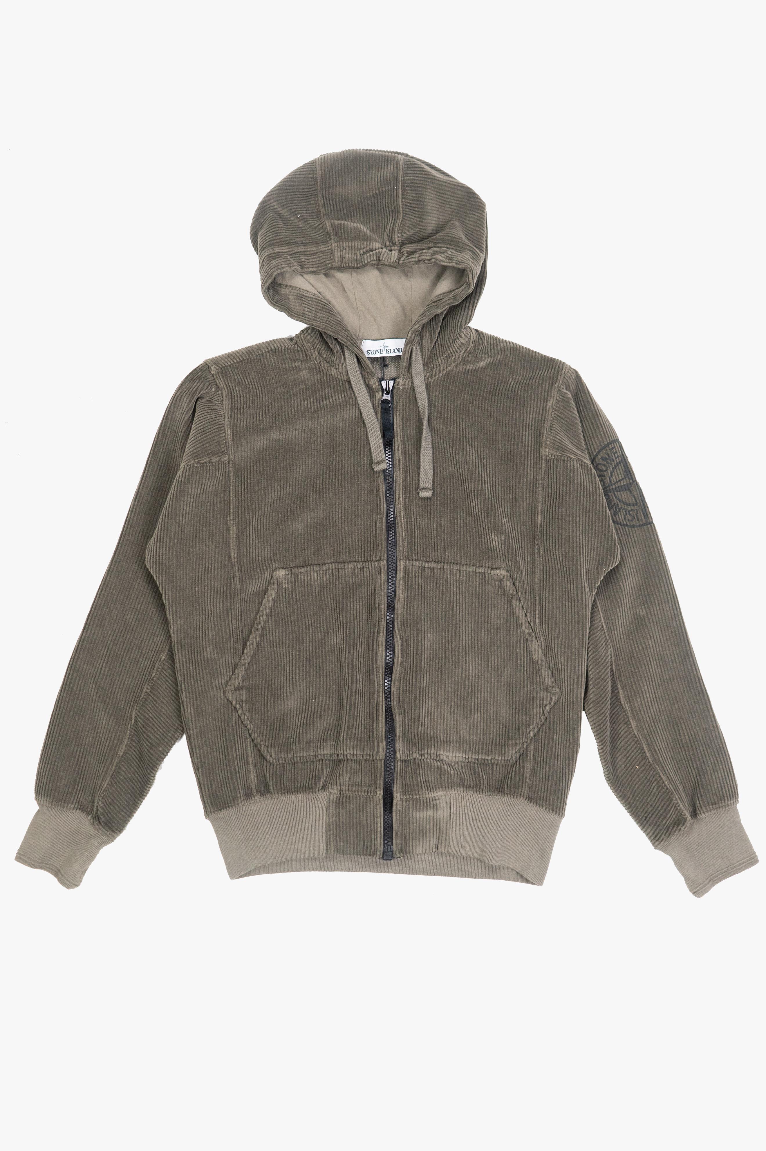 Zip Corduroy Sweatshirt Olive Green