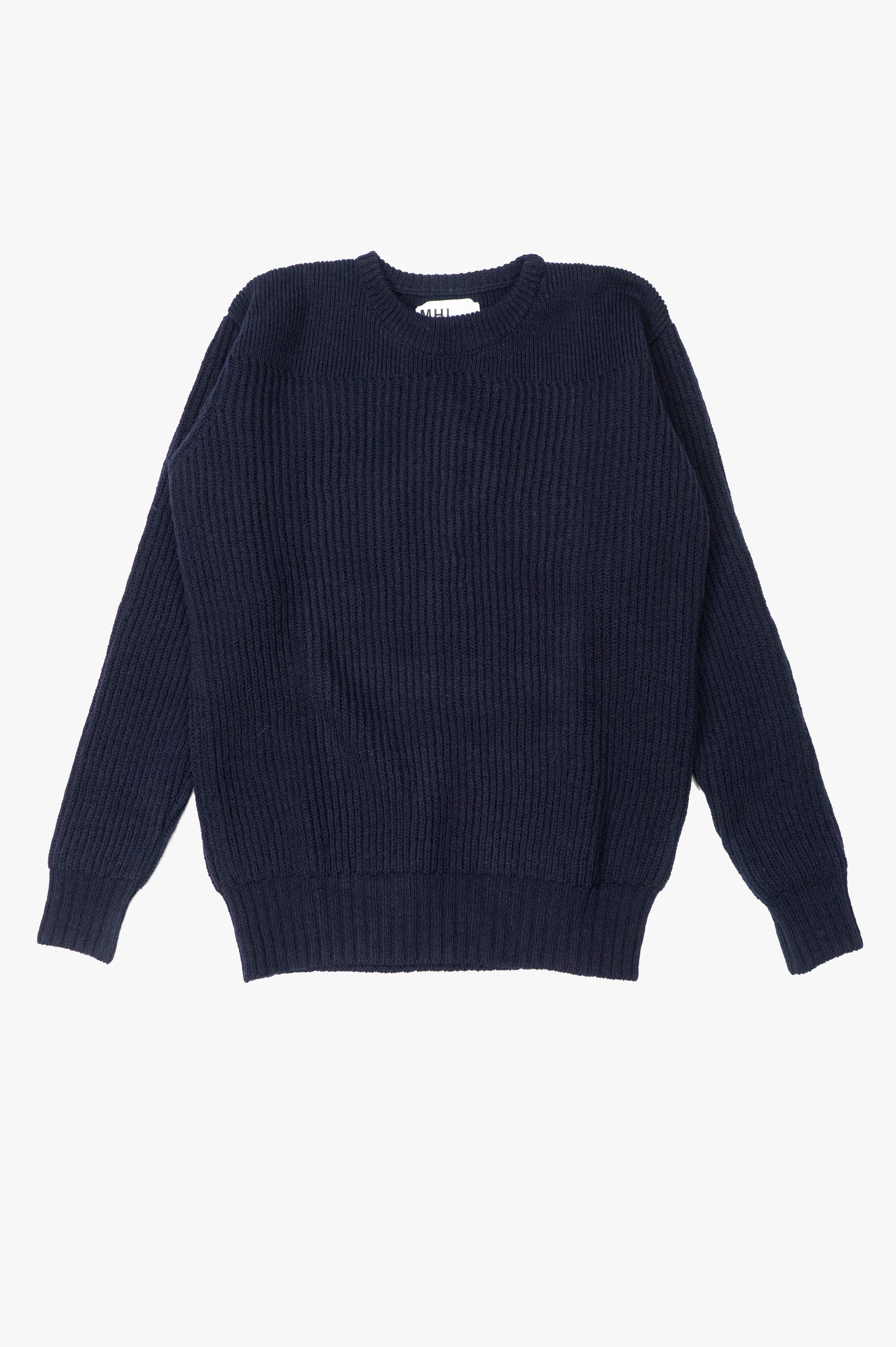 Fishermans Rib Sweater British Merino Navy