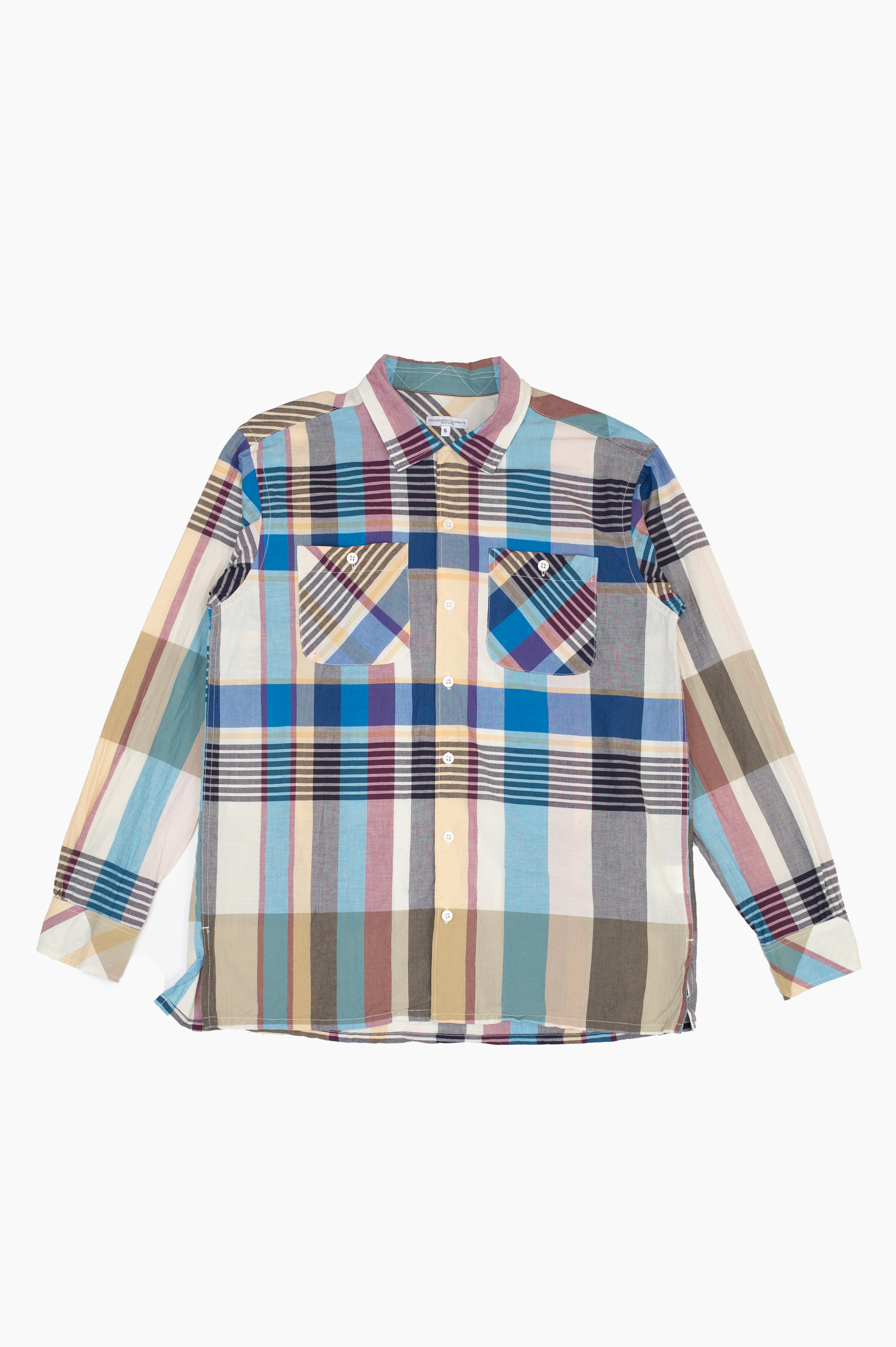 Classic Shirt Bib Madras Plaid Khaki