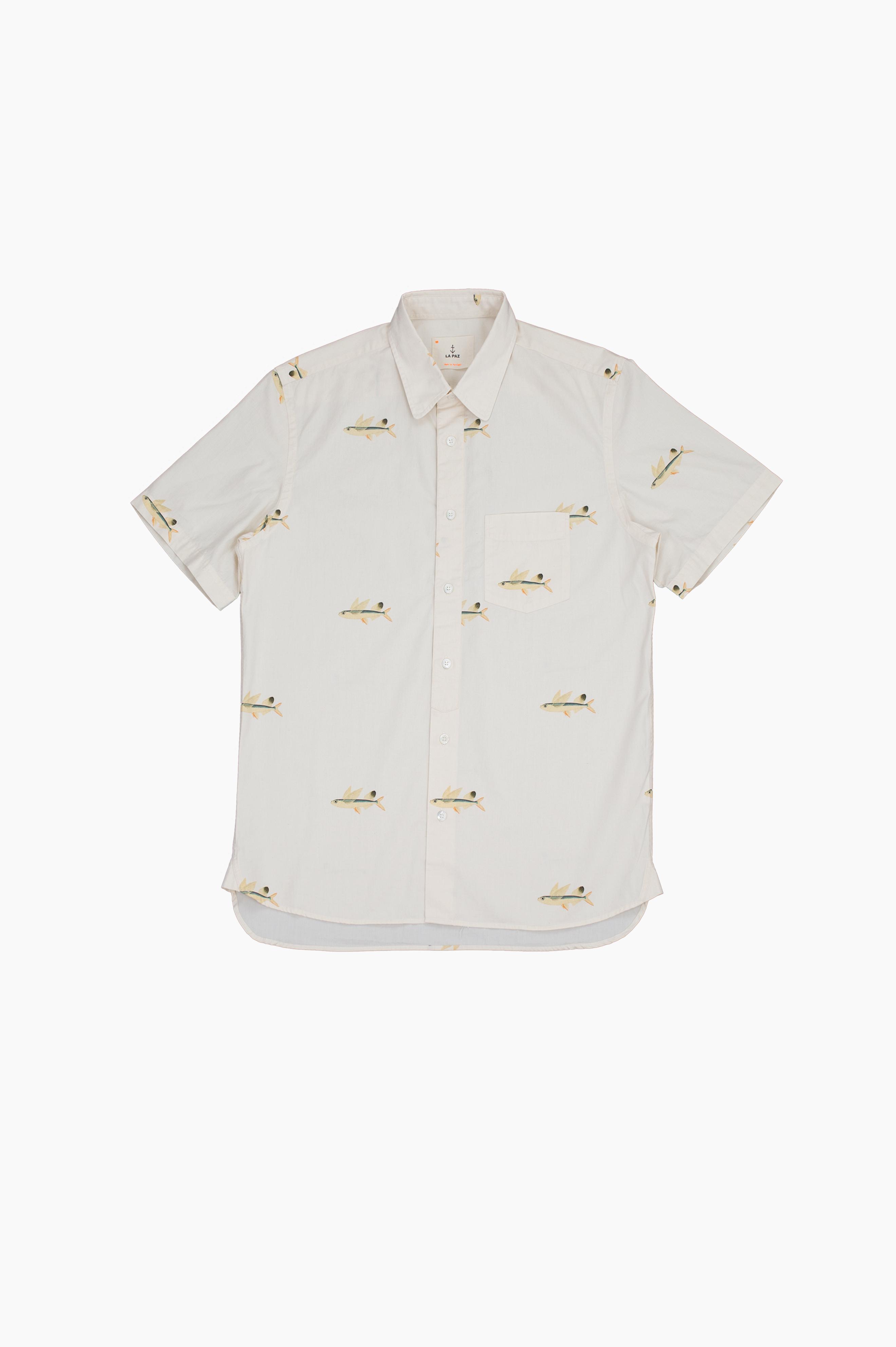 Alegre Flying Fish Short Sleeve Shirt Off White