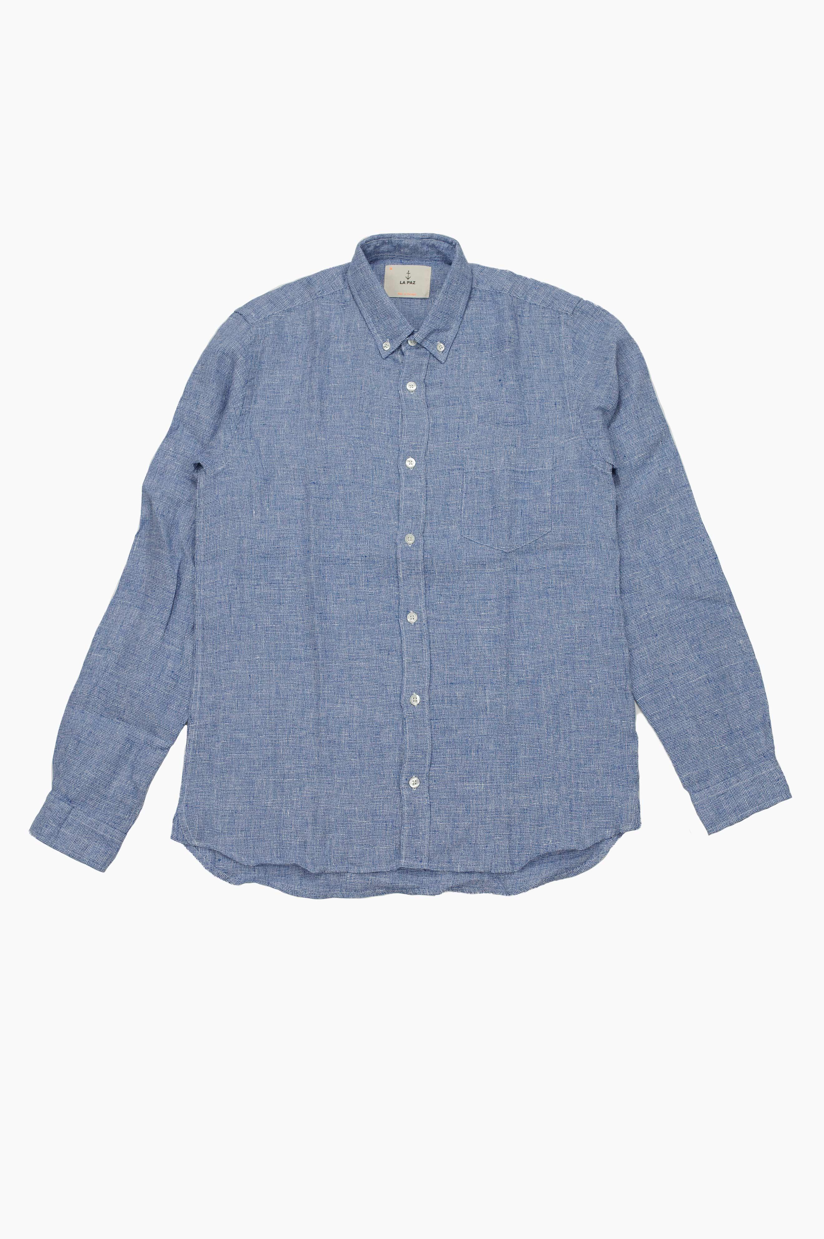 Branco Linen Shirt Blue Micro Squares