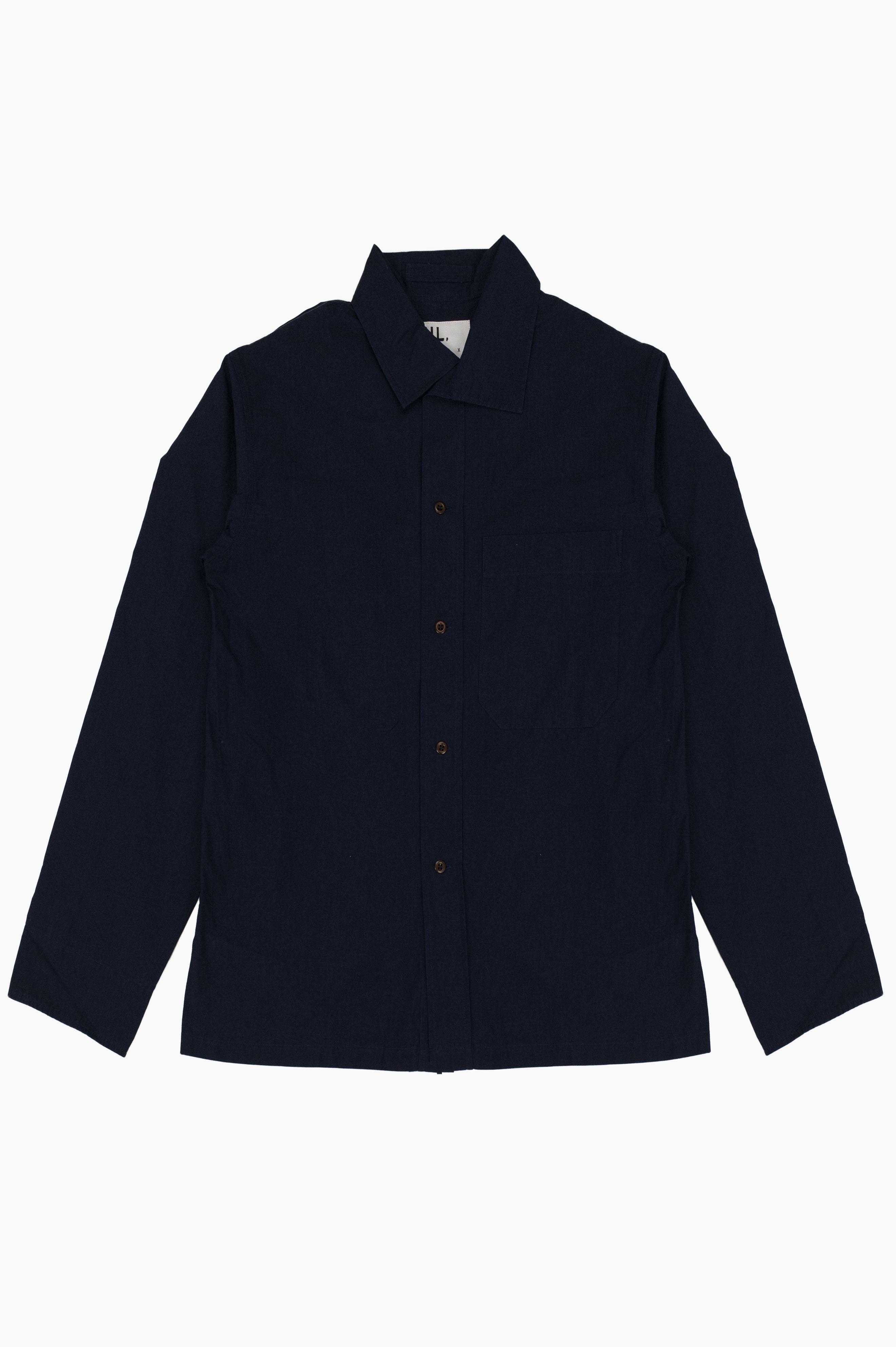 Asymmetric Collar Shirt Indigo