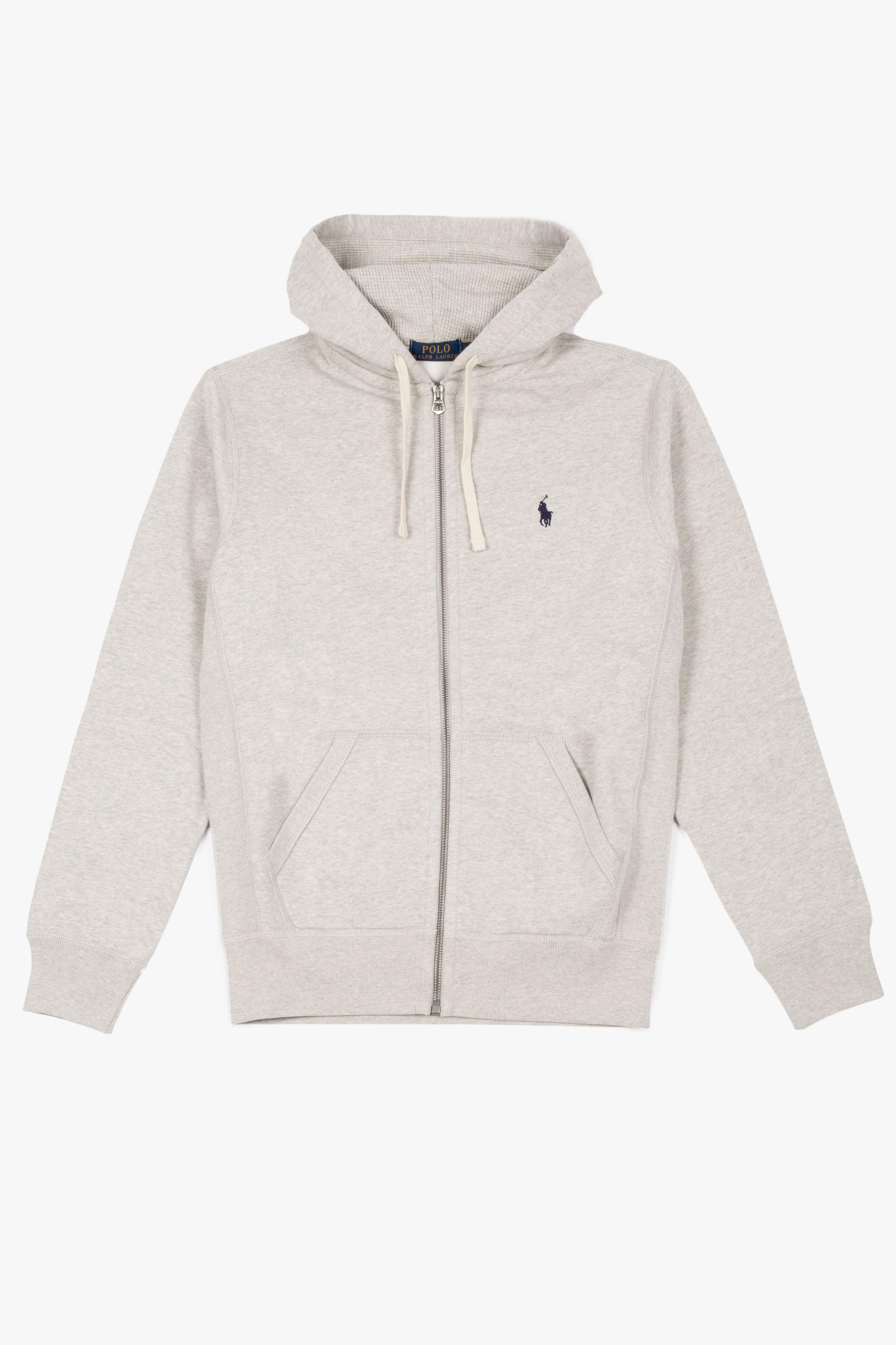 Double-knitted Full Zip Hoodie Light Heather Grey