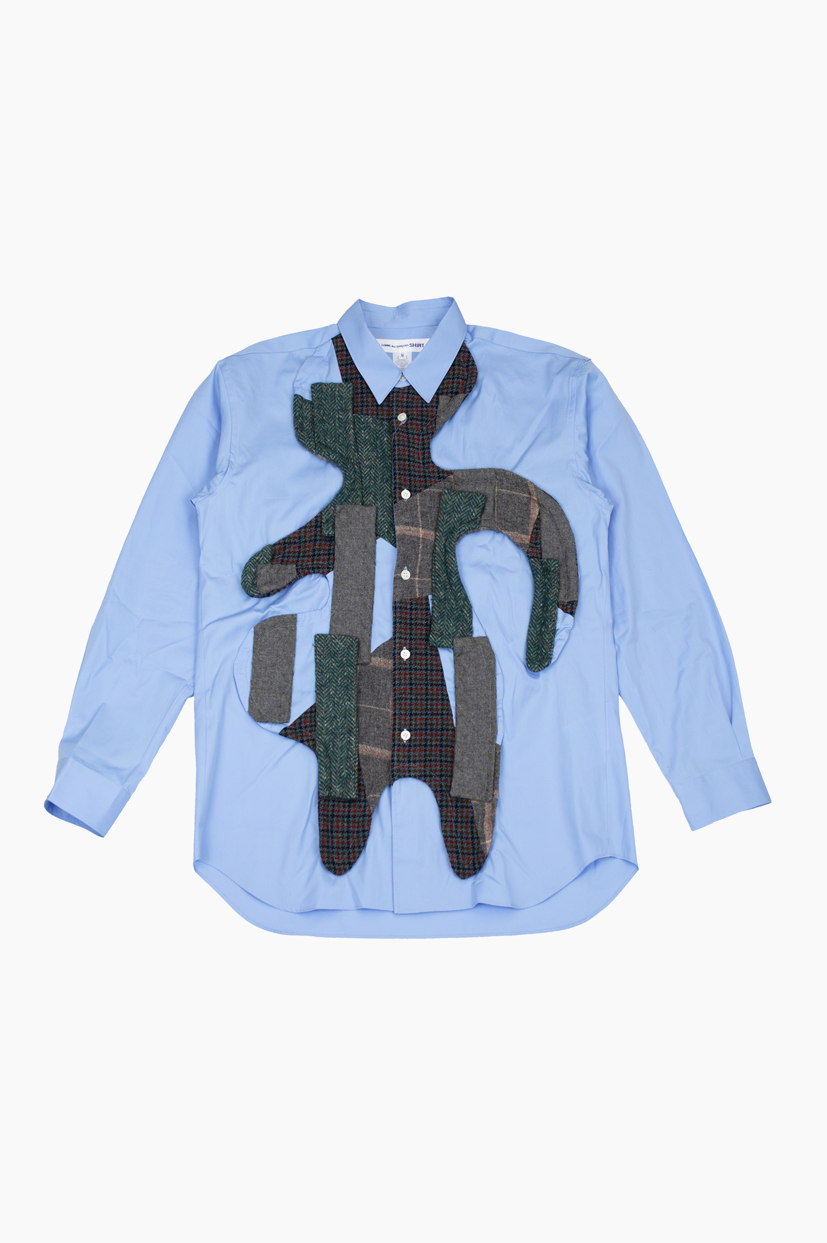 Wool Patched Shirt Blue