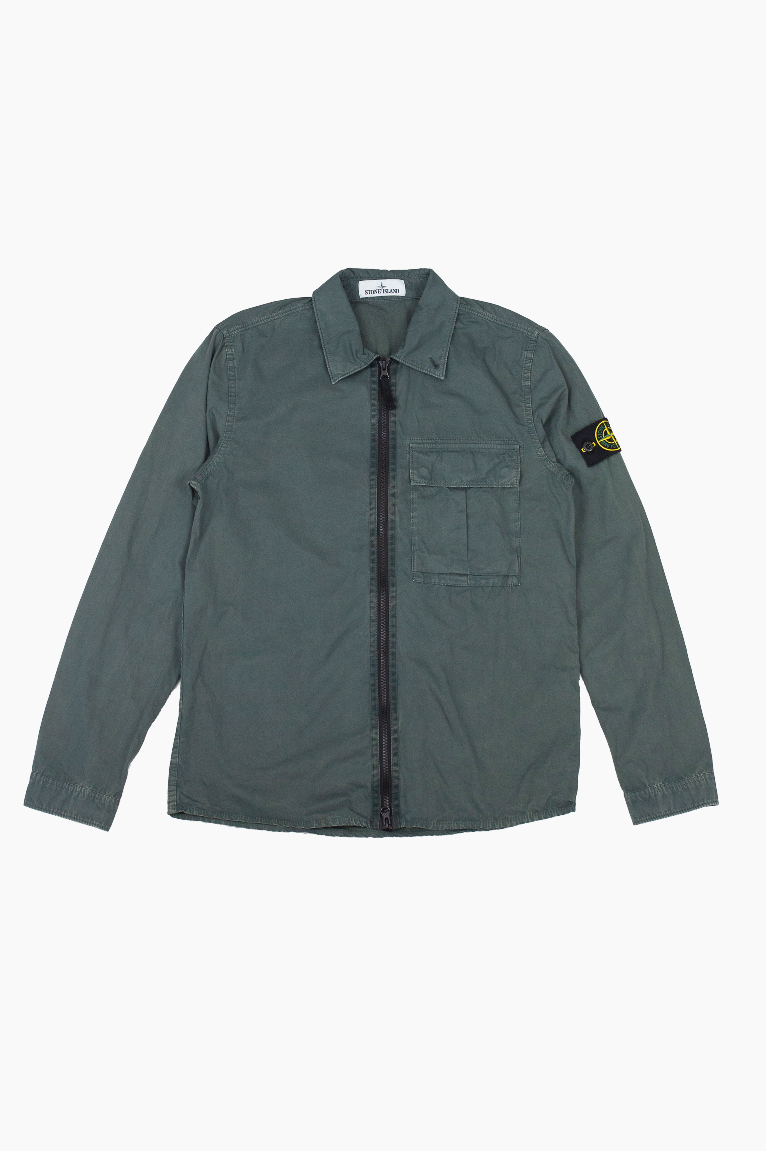 'Old' Dye Treatment Over Shirt Olive Green
