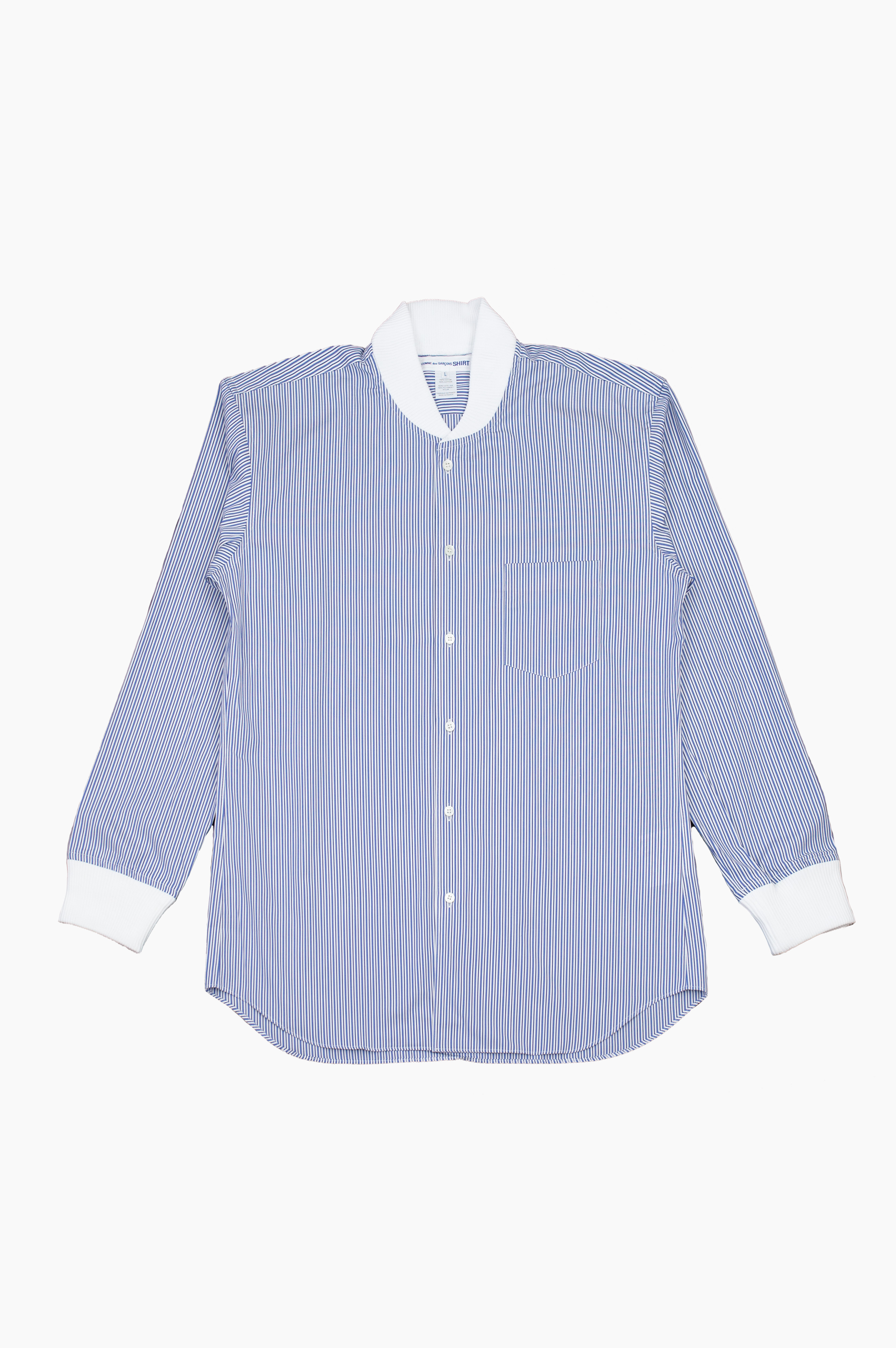 Ribbed Cuffs Shirt Blue Stripes