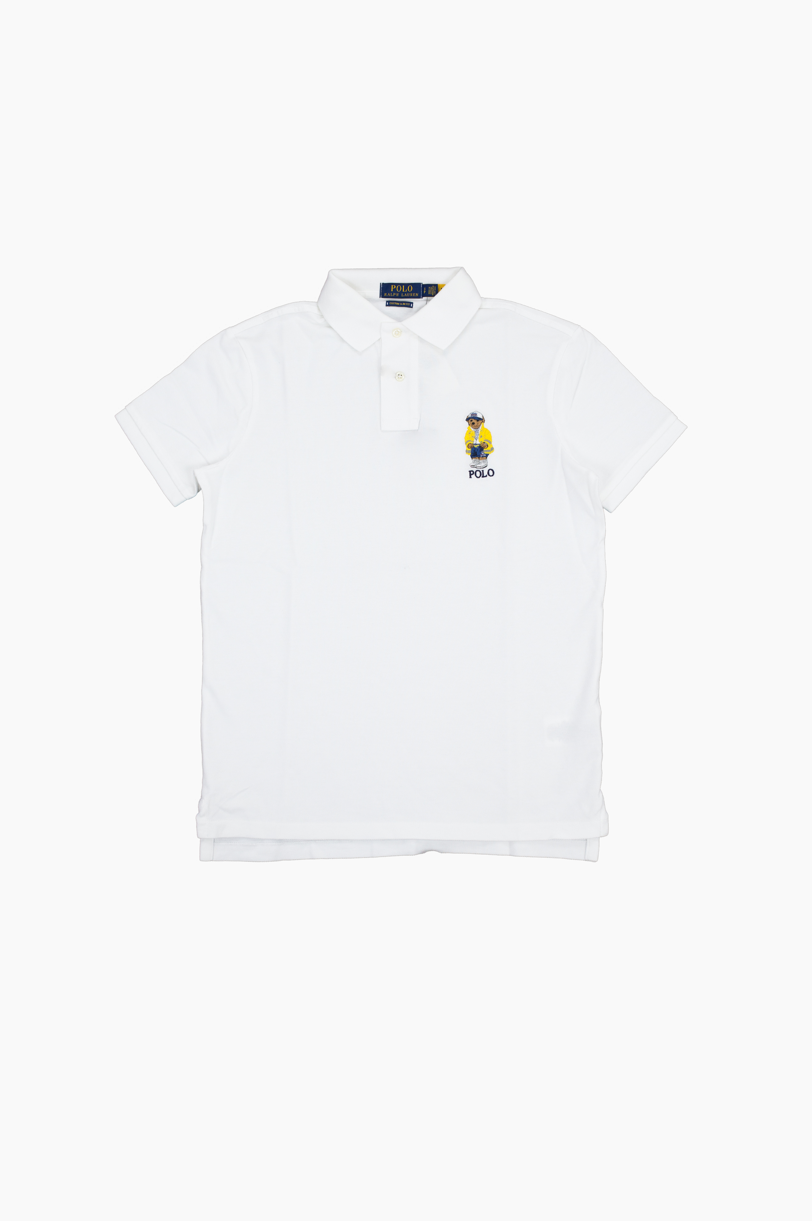 Yachting Bear Embroidered Polo White